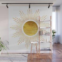 Golden Sunburst Starburst White Hot Wall Mural