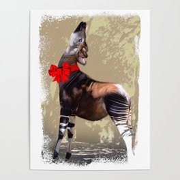 Okapi  with Red Bow Poster