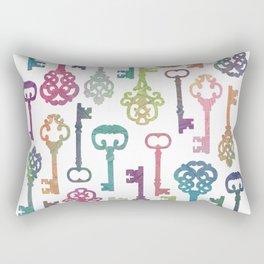 Rainbow Keys on White Rectangular Pillow