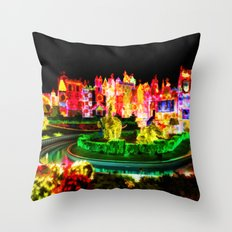 City Lights In Christmas - Painting Style Throw Pillow