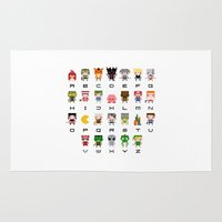 warcraft Area & Throw Rugs featuring Video Games Pixel Alphabet by PixelPower