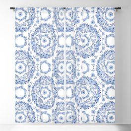Blue Rhapsody on white Blackout Curtain