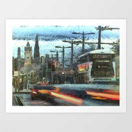 Edinburgh Night Bus Art Print