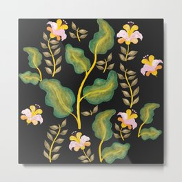 Tropical flowers and banana leaves // Green Pink Yellow Black Palette Metal Print