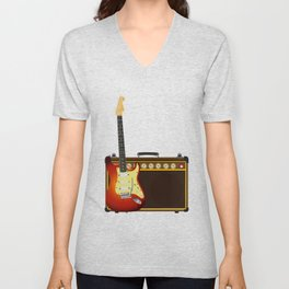 Guitar And Aplifier Unisex V-Neck