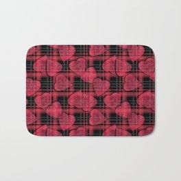Red hearts, plaid Bath Mat