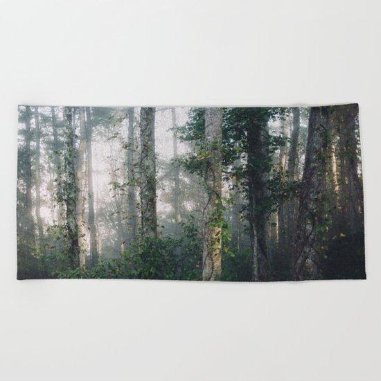forest fog Beach Towel