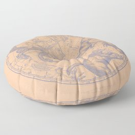 New York COnstellations | Pastel Blue over Summer Peach Floor Pillow