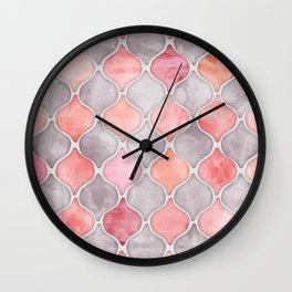 Rhythm of the Seasons - coral pink & grey Wall Clock