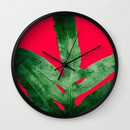 Green Fern on Bright Red Wall Clock