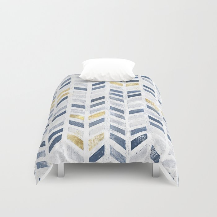 herringbone chevron pattern indigo gold acrylic on canvas duvet