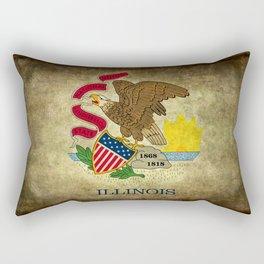 Illinois flag with vintage textures Rectangular Pillow