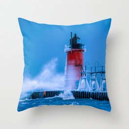 Waves Crash at South Haven Lighthouse Pier Winter Little Red Lighthouse Lake Michigan Throw Pillow