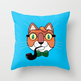 cat writer with a pipe Throw Pillow
