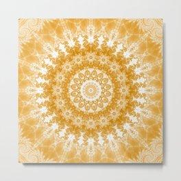 Tangerine and White Mandala Metal Print