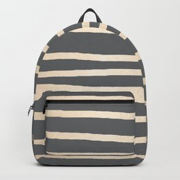 Simply Drawn Stripes White Gold Sands on Storm Gray Backpack
