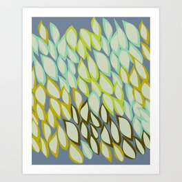 Falling into Blue Leaves Art Print