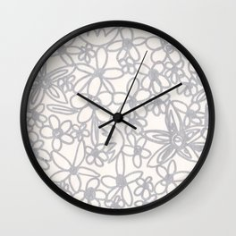 Flowers Doodle Wall Clock