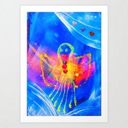 Angel on blue  Art Print
