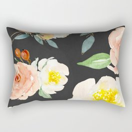 Watercolor Flower Collage on Chalkboard Rectangular Pillow