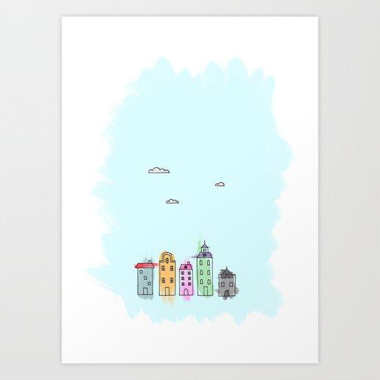 Painted Houses Art Print