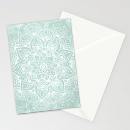 Mandala, Yoga, Love, Flower of Life, Teal Green Stationery Cards