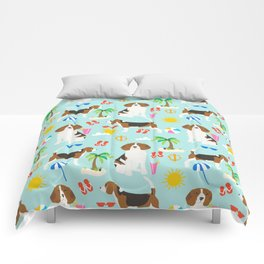 Beagles beagle pattern beach classic socal dog breed pattern palm trees tropical Comforters