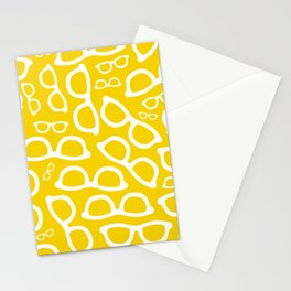 Smart Glasses Pattern - Yellow Stationery Cards