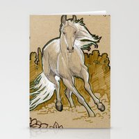 mucha Stationery Cards featuring  Mucha Horse by emilyszalay