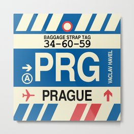 PRG Prague • Airport Code and Vintage Baggage Tag Design Metal Print