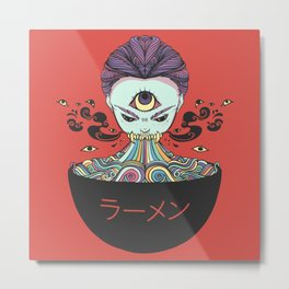 Rainbow Ramen Noodles Anime Monster Girl Metal Print