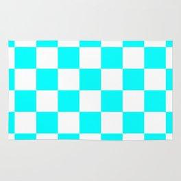 Checkered - White and Aqua Cyan Rug