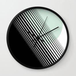 Rising Sun Minimal Japanese Abstract White Black Mint Green Wall Clock