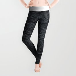 Abstract modern black gray creased paper texture Leggings