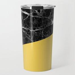 Black Marble and Primrose Yellow Color Travel Mug