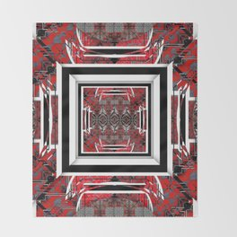 NUMBER 221 RED BLACK GRAY WHITE PATTERN Throw Blanket