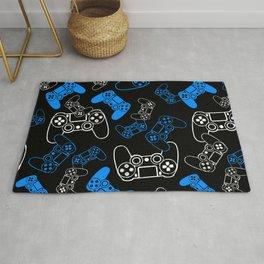 Video Games Blue on Black Rug