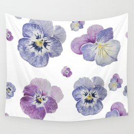 Watercolor Pansy Pattern Wall Tapestry
