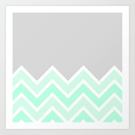 TWO-TONE MINT CHEVRON COLORBLOCK Art Print