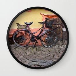 Bicycle On Sidewalk Wall Clock