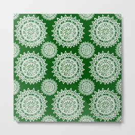 Emerald Green and Silver Patterned Mandalas Metal Print