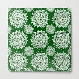 Emerald Green and Silver Patterned Mandalas Metal Print