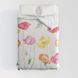 colorful poppies watercolor  horizontal Duvet Cover