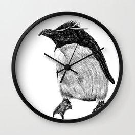Rockhopper penguin bird ink illustration Wall Clock