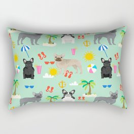 French Bulldog summer beach dog breed gifts frenchies pet portrait tropical palm trees Rectangular Pillow