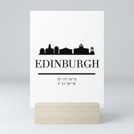 EDINBURGH SCOTLAND BLACK SILHOUETTE SKYLINE ART Mini Art Print