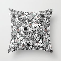 just dogs coral mint Throw Pillow