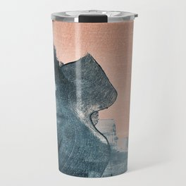 Renew: a minimal abstract piece in coral and blue by Alyssa Hamilton Art Travel Mug