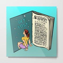 Get Lost Book Pop Art Metal Print