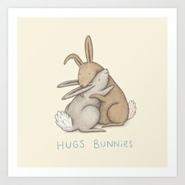 Hugs Bunnies Art Print